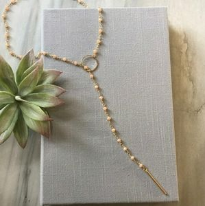 Rosary Chain 14k Gold Lariat Necklace